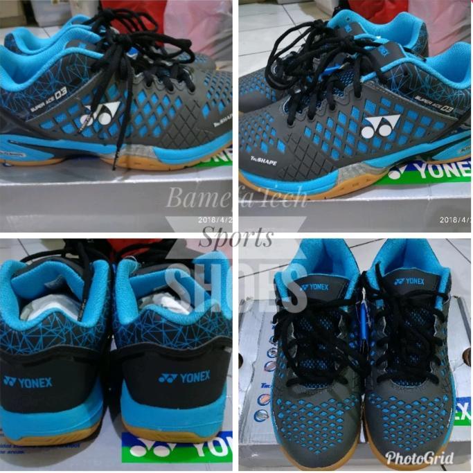sepatu badminton bulutangkis baru super ace 03 grey blue size 41 insole 26.5cm trucushion trushape