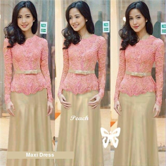 Flavia Store Maxi Dress Lengan Panjang Brukat FS0203 - PEACH / Kebaya Modern / Gamis Syari / Gaun Pesta Muslimah / Baju Muslim Wanita Syar'i / Hijab / Srmeliana