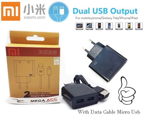 Mi Charger Adapter Dual Usb Output With Data Cable Mico Usb / Aneka Charger Kabel Android Terbaru / Cas HP Andrroid Lengkap Colokan USB Murah Terlaris