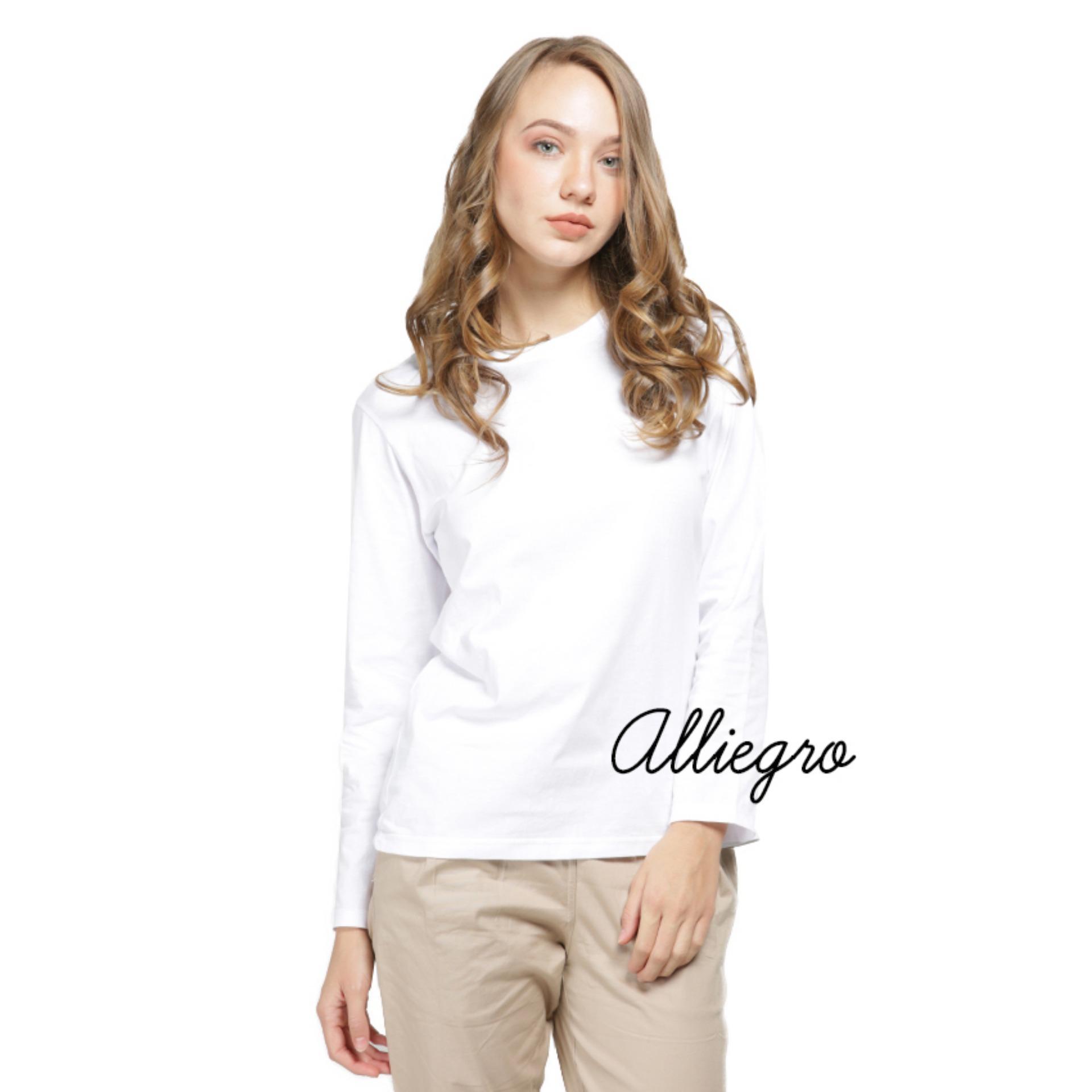 Alliegro Kaos Polos Wanita Lengan Panjang Putih - T-Shirt Kaos Distro Cewek Tumblr Tee Premium Kaos
