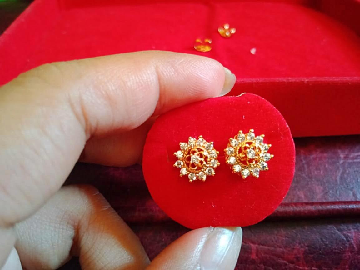 Lan'z anting giwang titanium kristal bunga cantik 18 k (emas)