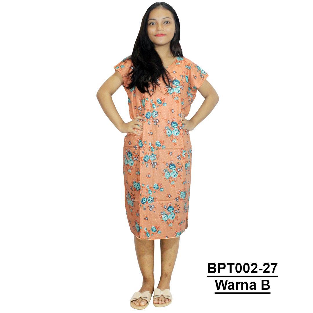 Dress Santai, Midi, Atasan Batik, Motif Bunga - (BPT002-27) Batikalhadi Online