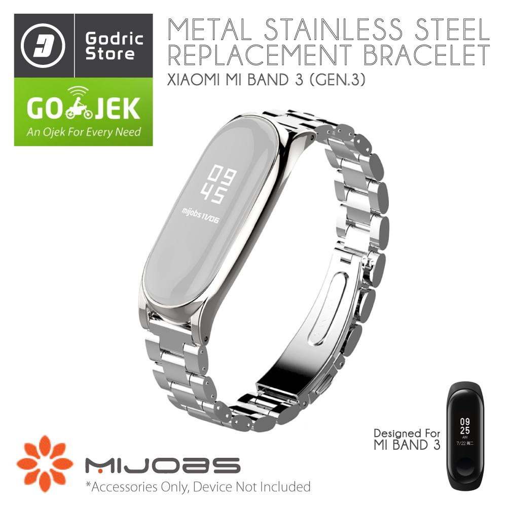Xiaomi Mi Band 2 Oled Replacement Strap Stainless Steel Mijobs Silver Metal Plus Wrist For 3 Miband