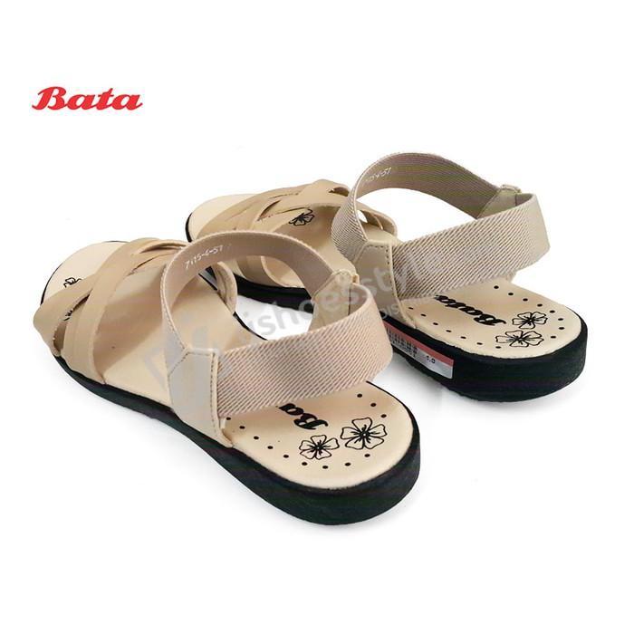 Promo Sepatu Sandal Wanita BATA 4/6551 Elastis Tali Silang - Hitam & Beige Gratis Ongkir