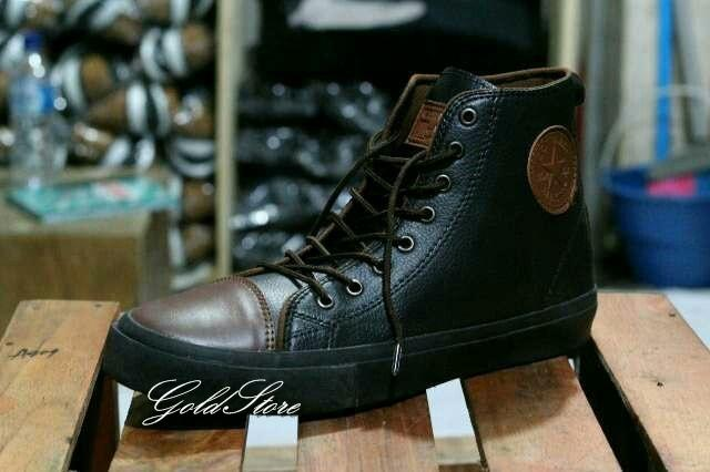 Sepatu Connversee Lokal Handmae Semi Kulit Tinggi - Hitam & Dark Coklat By Gold666adgetstore.
