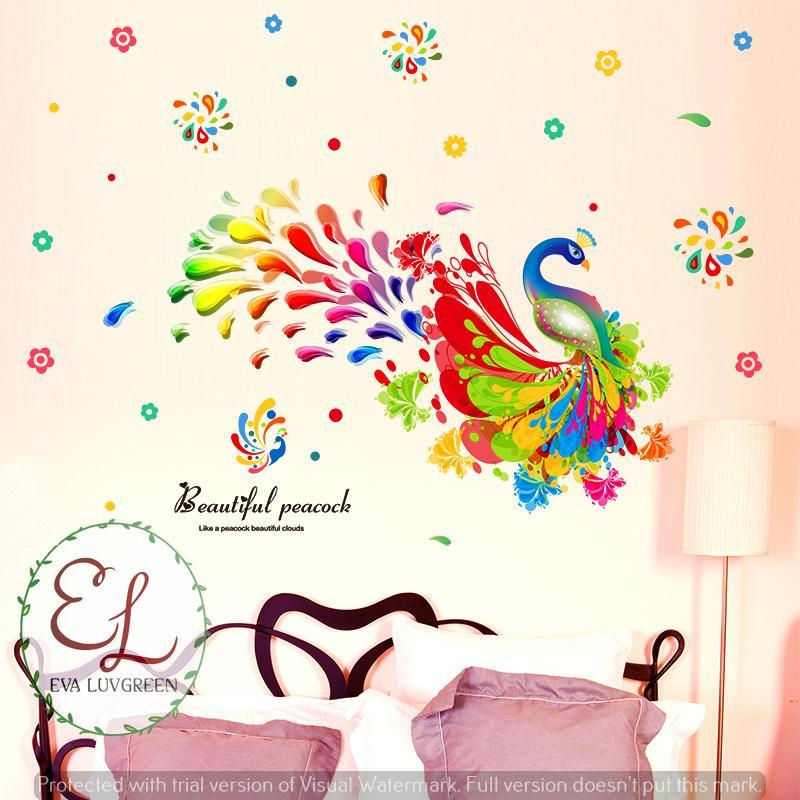Eva Luvgreen Wallsticker Merak Rainbow Abstrak Warna Ukuran 60x90cm/ Stiker Dinding/ Stiker Tembok/ Wallpaper Sticker/ Wall Paper Sticker/ Wall Sticker ...