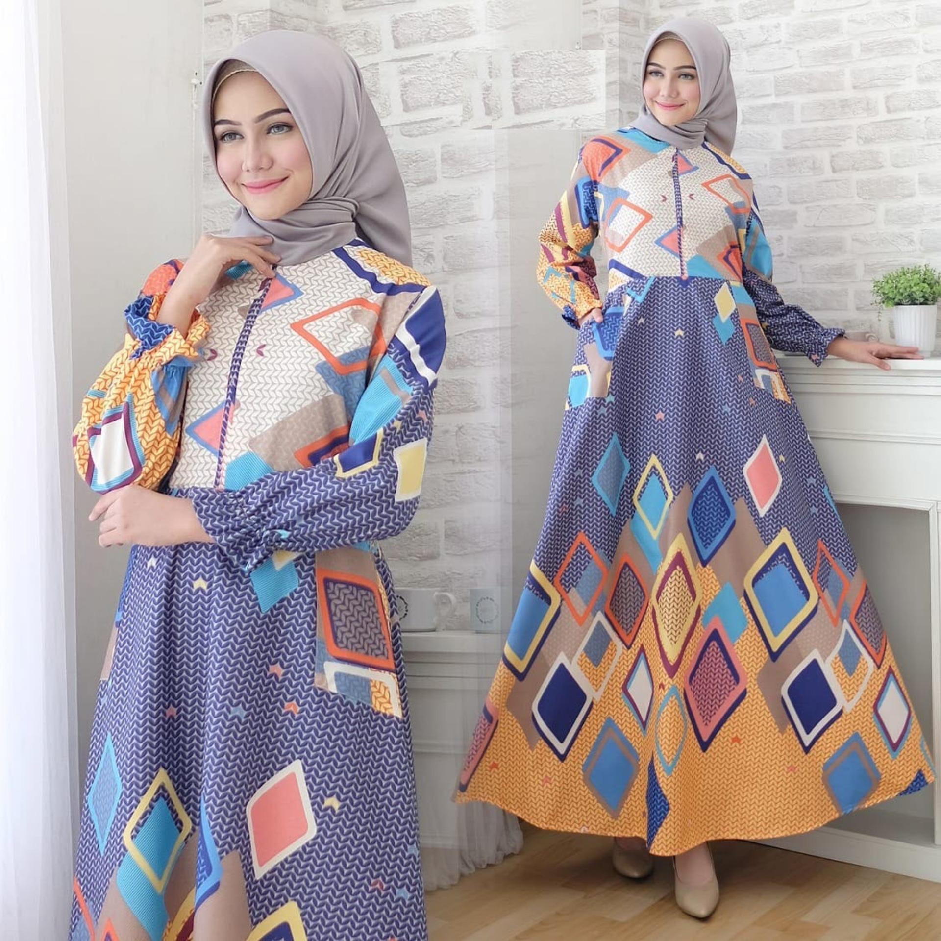 Jual Gamis Terbaru Terlengkap Khimar Panjang Pinguin Maxi Dress Lengan Busui Katun Jepang Motif Msr289 Syari Kasual Gaun Muslimah