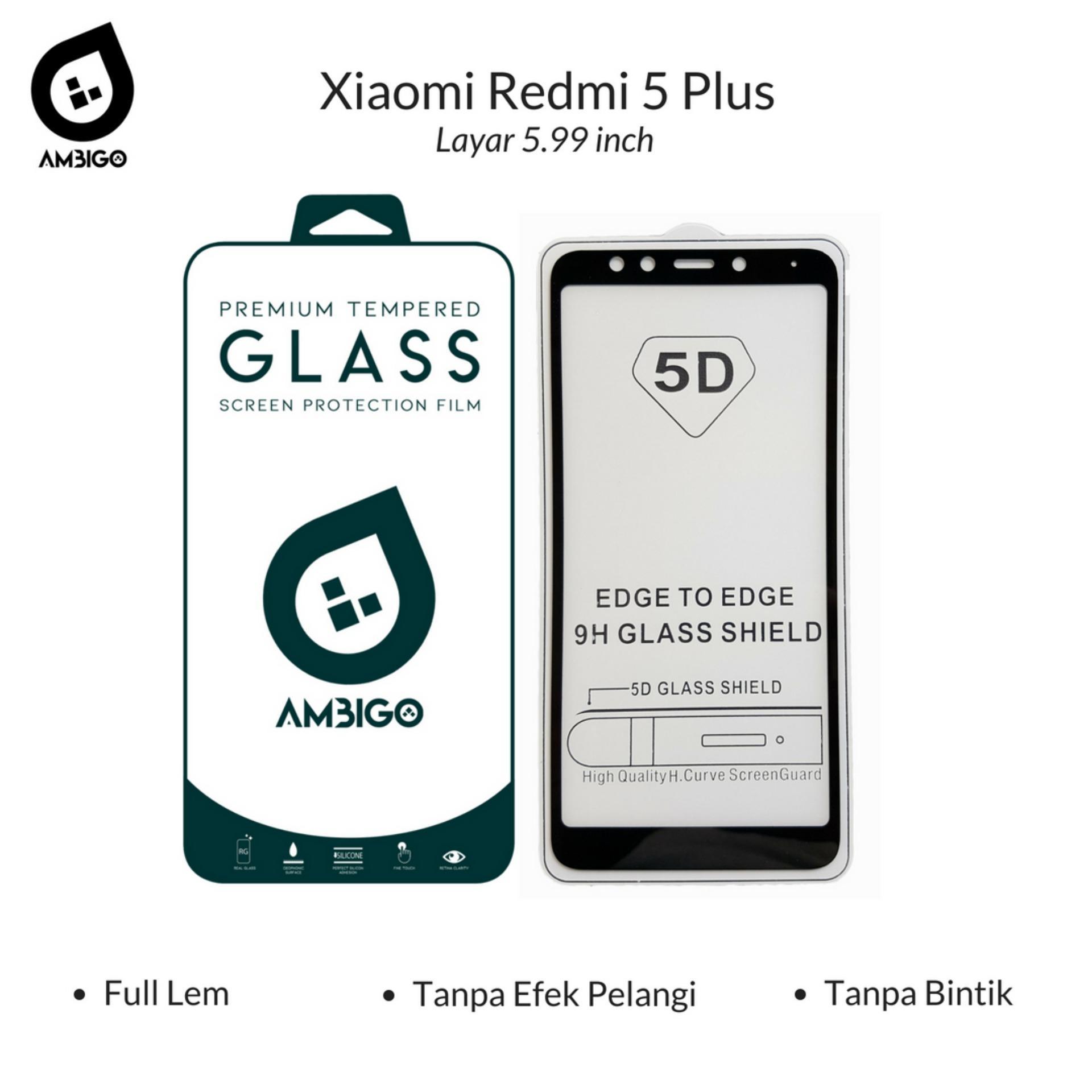 Ambigo 5D Tempered Glass Screen Protector Xiaomi Redmi 5 Plus ( 5.99 inch ) Full Cover
