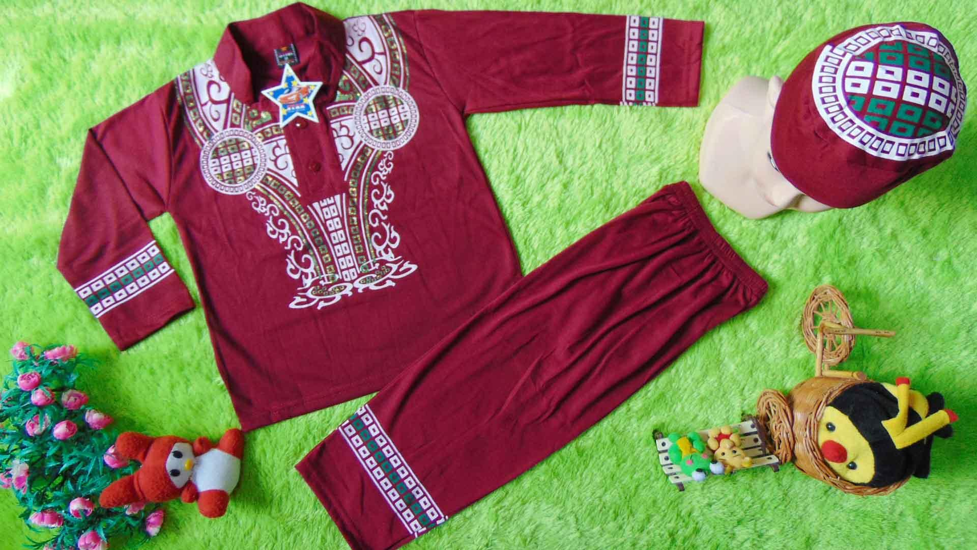 kembarshop - PLUS PECI setelan baju koko muslim lebaran idul fitri ramadhan anak balita laki-laki cowok 4th star warna random