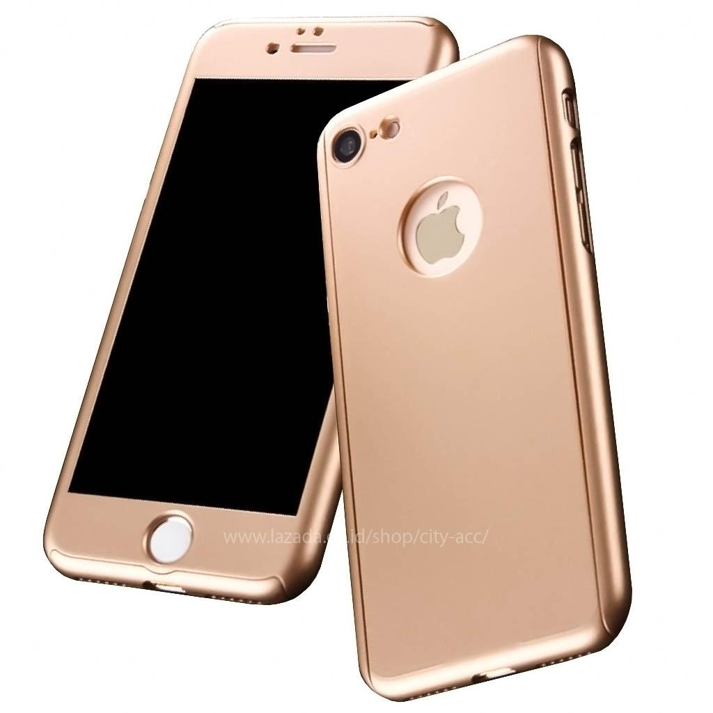Case Front Back 360 Degree Full Protection for Apple iPhone 6  / iPhone 6s - Gold + Tempered Glass