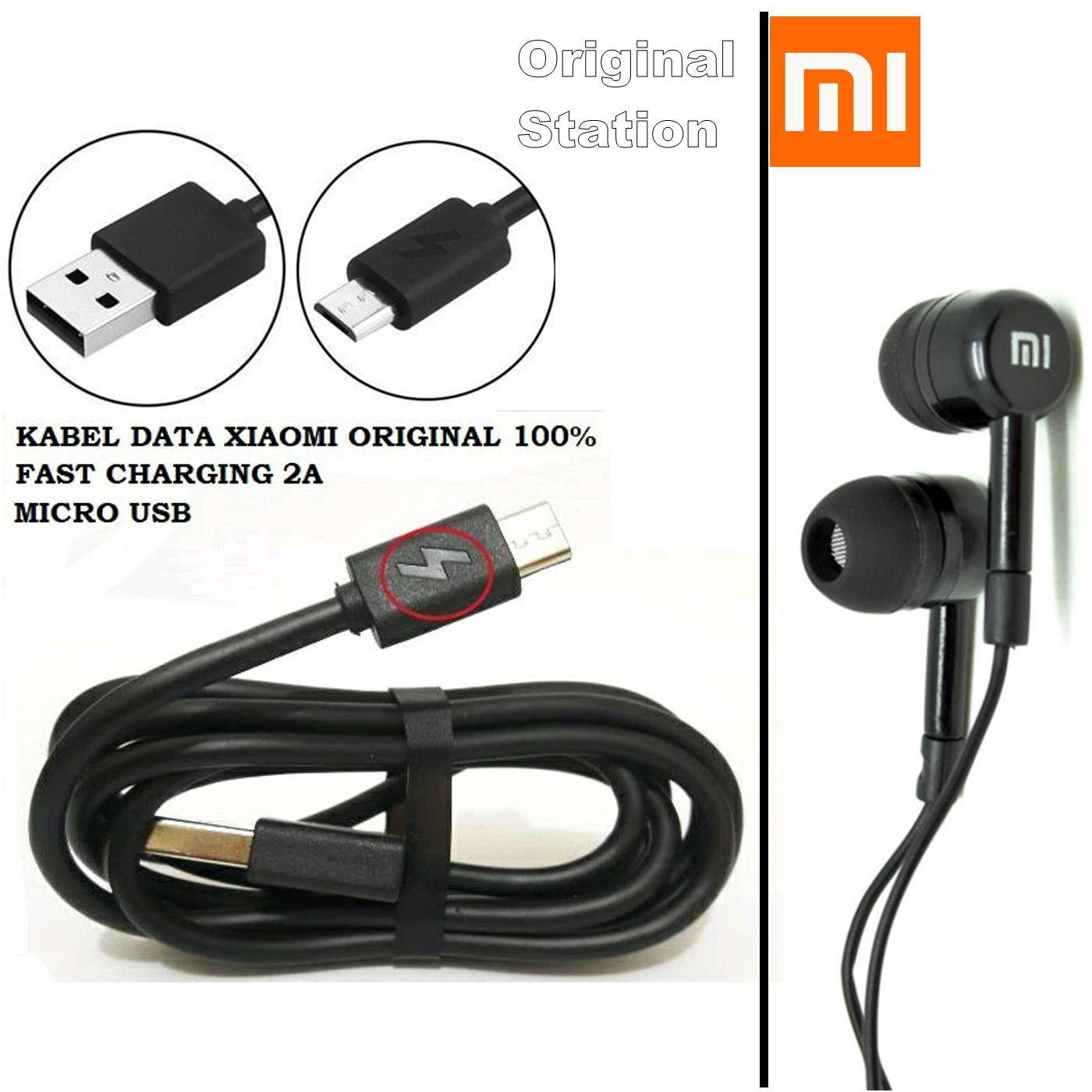 Xiaomi Paket Best Bundling Kabel Data Micro USB Support Fast Charging Dan Headset Hifi