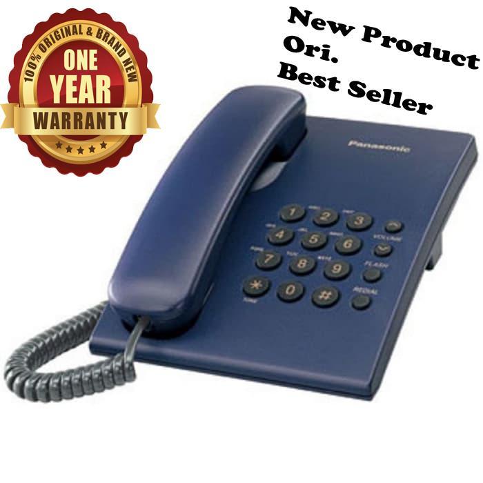 Panasonic Best Seller Murah KX-TS505 CX / TS-505 / TS 505 Telepon Kabel Rumah Kantor Telephone Single Line Bergaransi Resmi - Biru setara dengan alcatel T22