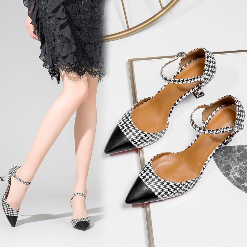 Sepatu Wanita Seksi Motif Swallow Gird Sandal Musim Panas Pointed untuk Hak Tipis (Hitam)