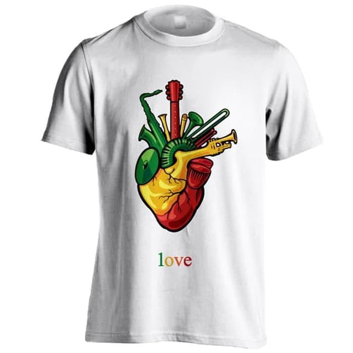 Kaos Distro Love Reggae Heart C01 Putih Ukuran Big Size XXXL