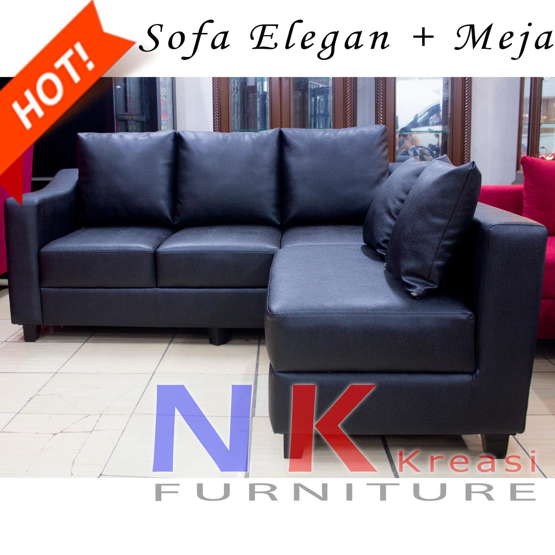 Sofa kursi Ruang Tamu L Minimalis, sofa sudut kantor black kulit oscar + MEJA TAMU - JABODETABEK ONLY