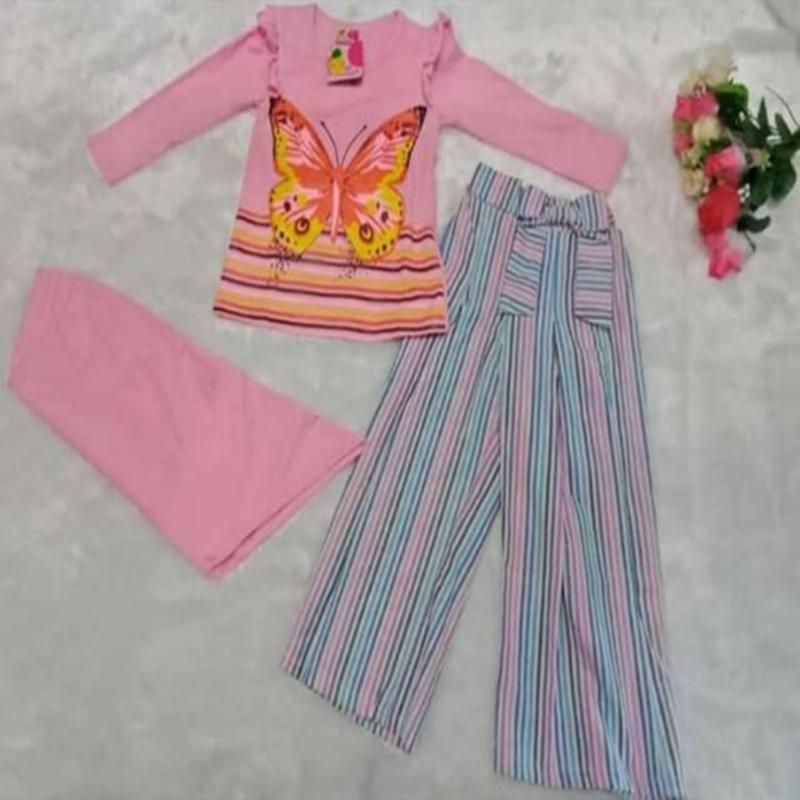Baju Setelan Muslim Anak Perempuan Little Pineaple (LP) Baju Kupu-Kupu Celana Kulot Garis
