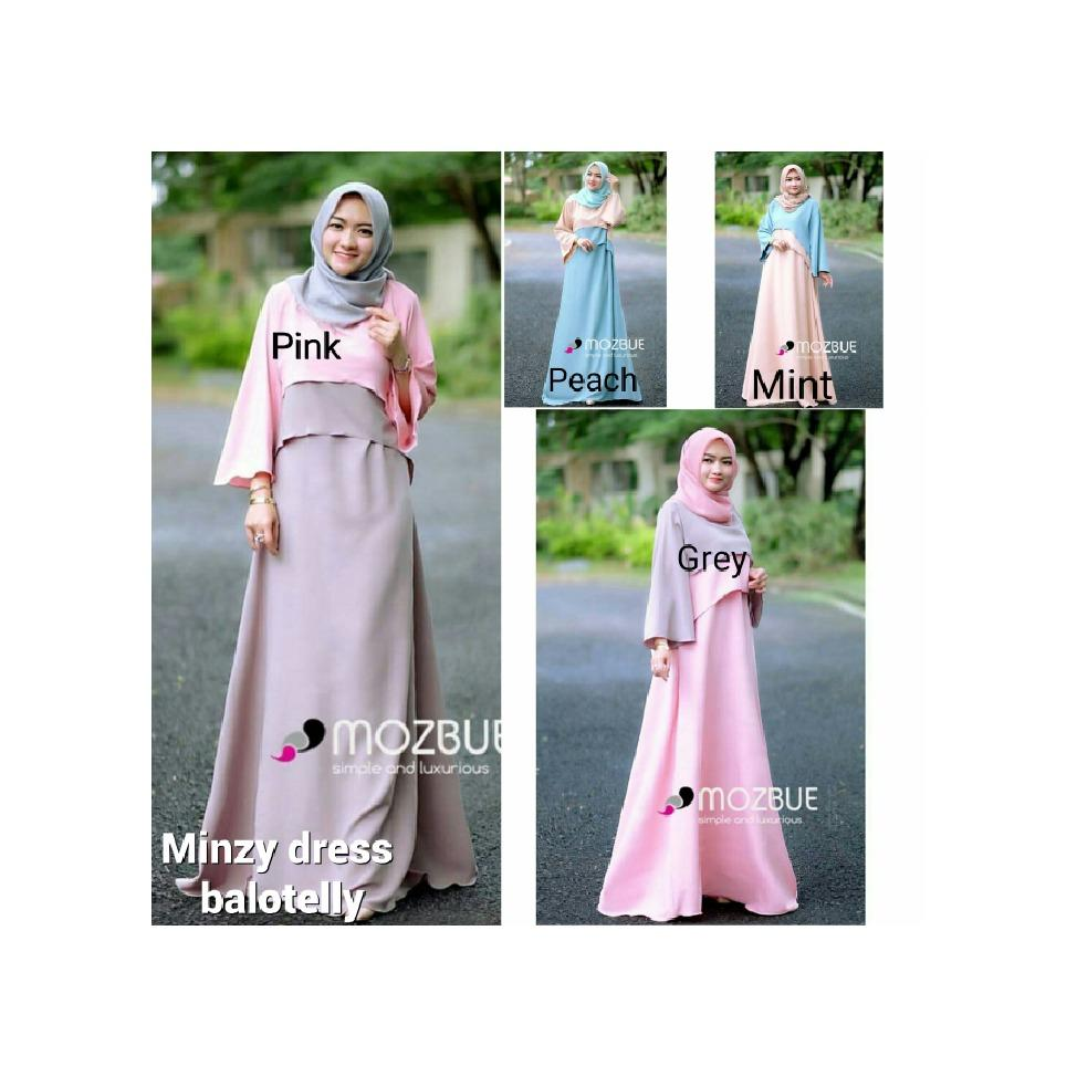 Gamis pastel / Dress lucu / Grosir baju muslim wanita : Minzy Dress