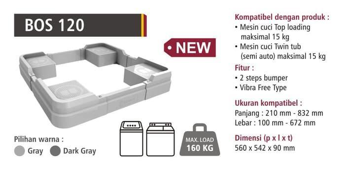 Promo Bervin BOS-120 Dudukan Mesin Cuci / Alas Kulkas / Kaki Lemari - Es Original
