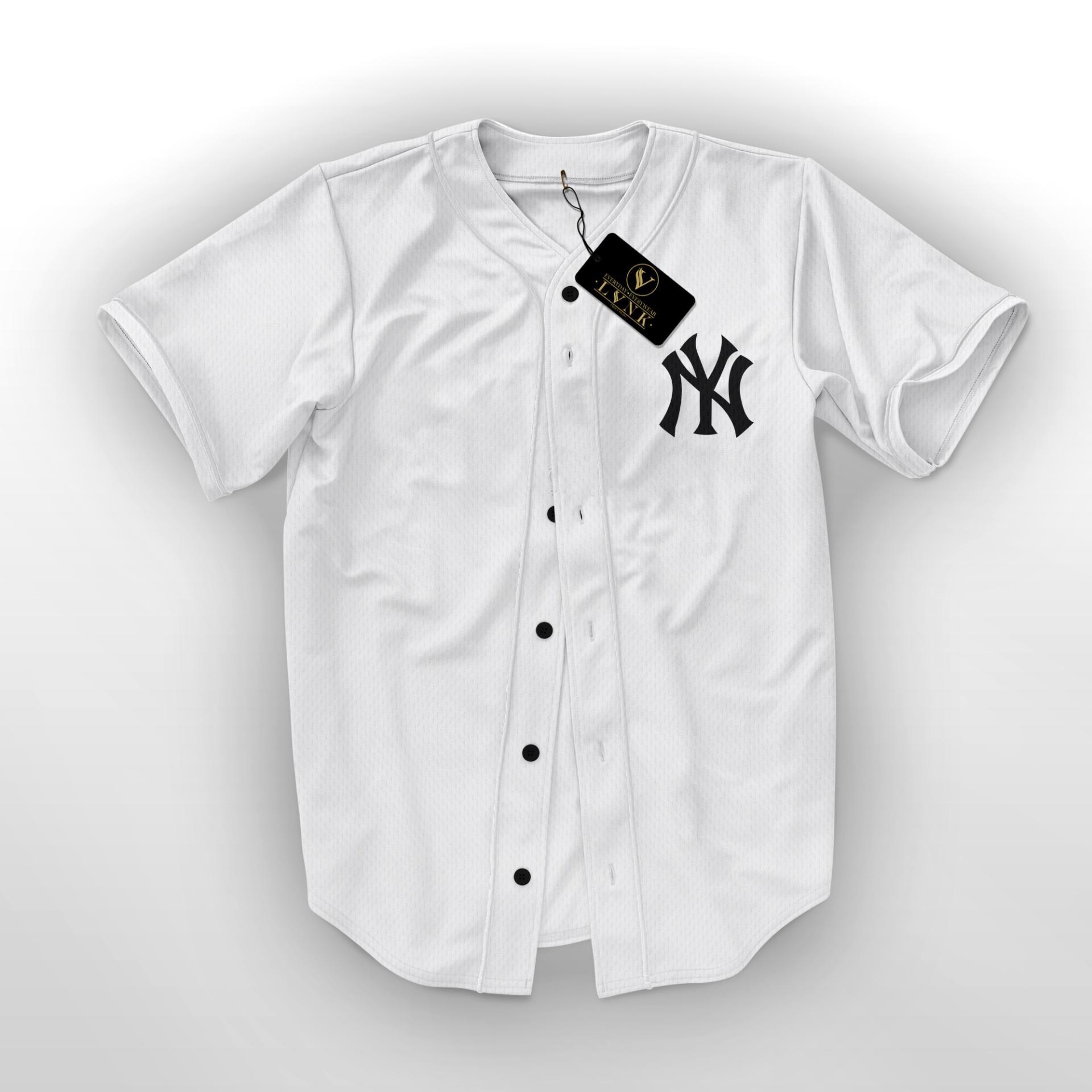 LVNK - Jersey Baseball / Baju Baseball / Baju Hiphop NY Putih