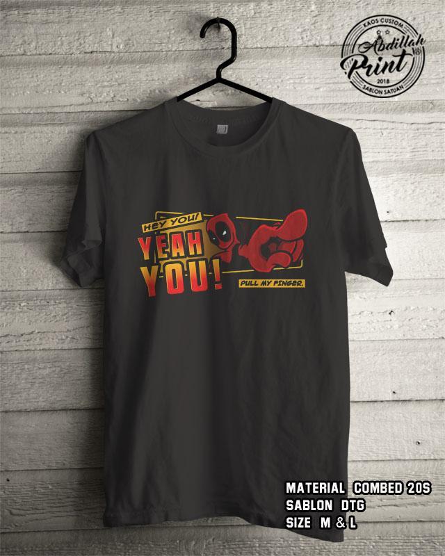 Kaos Distro Custom Design T Shirt Casual Atasan Pria Wanita Cotton Combed 20s Sablon DTG Quality Export -Superhero Marvel Avengers DC - Deadpool Hey You - Black