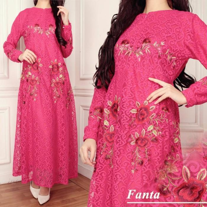Cuci Gudang !!!    Gamis Nisa Brokat Pink Baju Muslim Pesta Remaja Brukat Bordir Fanta TK