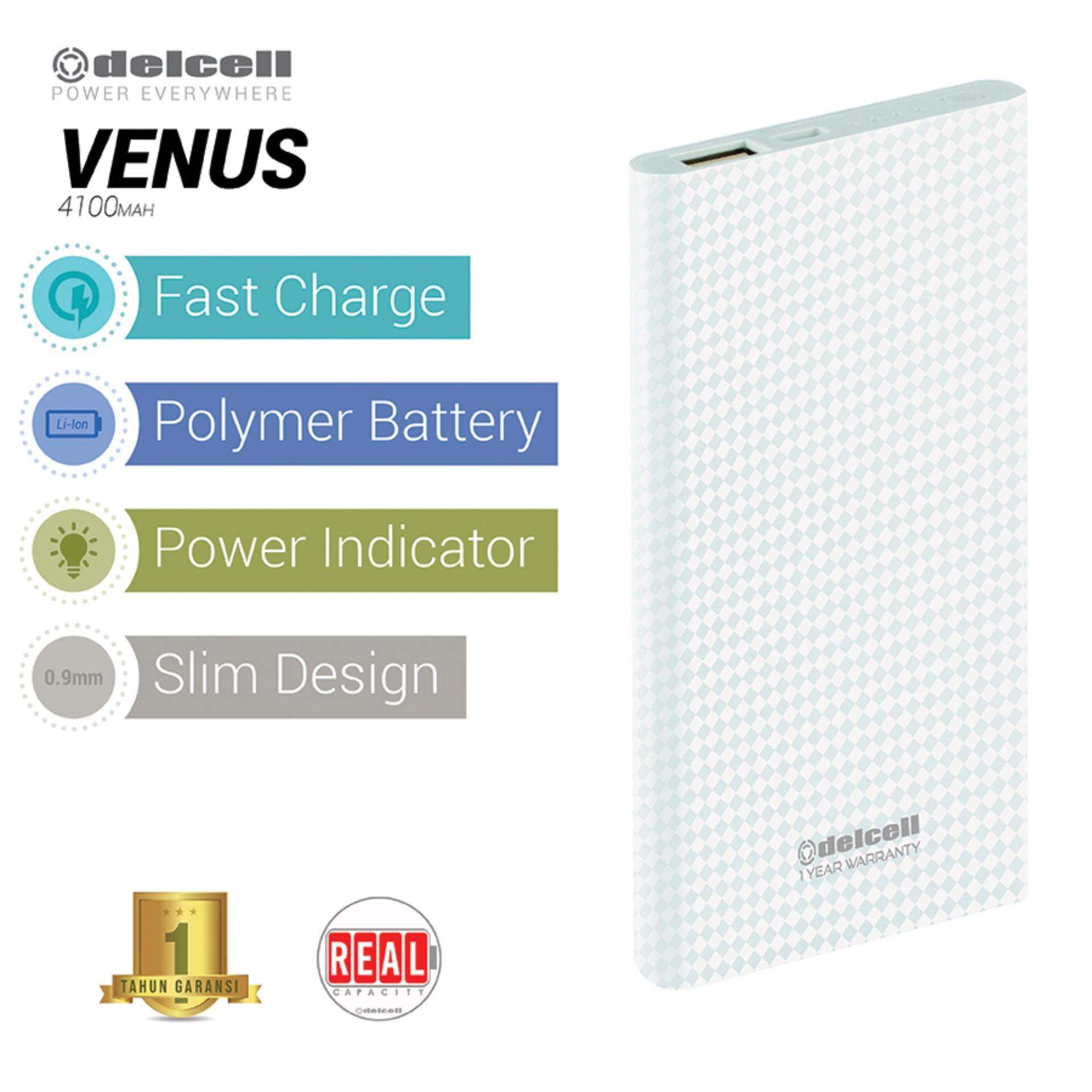Delcell 4100mAh Powerbank VENUS Real Capacity Slim Power Bank Fast Charging Polymer Battery Garansi Resmi 1