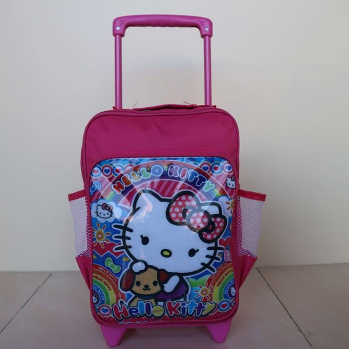 Tas Ransel Dorong Anak Cewek Sekolah TK Gambar Hello Kitty Pink Lucu