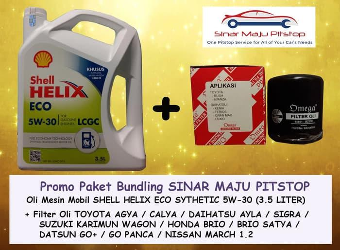 Paket SHELL HELIX ECO 5W-30 & FILTER OLI MOBIL NISSAN MARCH 1.2