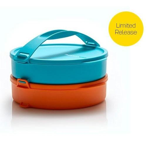 Tupperware Click To Go Round Set Biru orange- rantang 2 susun