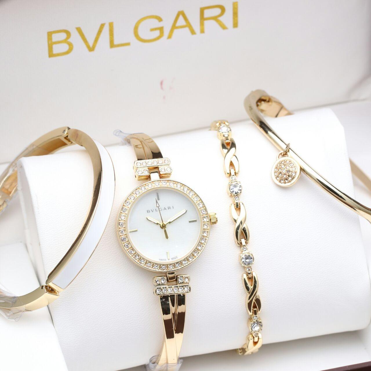 Jam Tangan Bvlgari Diamond Plus Paket 3 Set Gelang Original - Gold