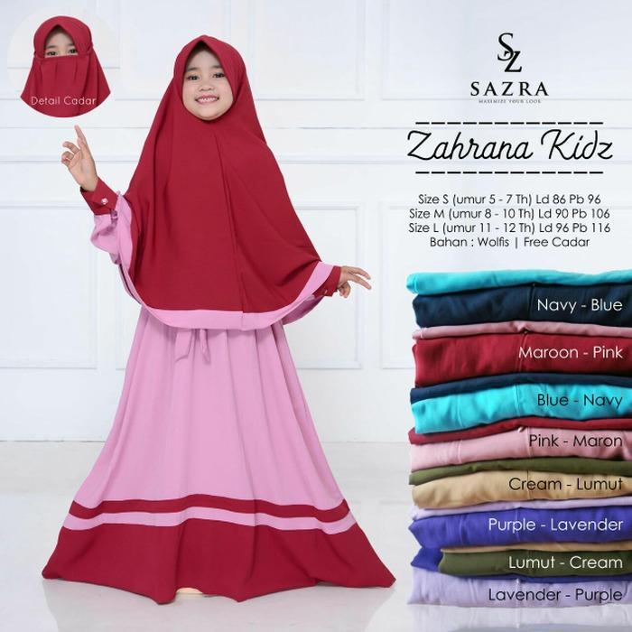 Baju Gamis Anak Zahrana Kids Plus Cadar Longdress Syari