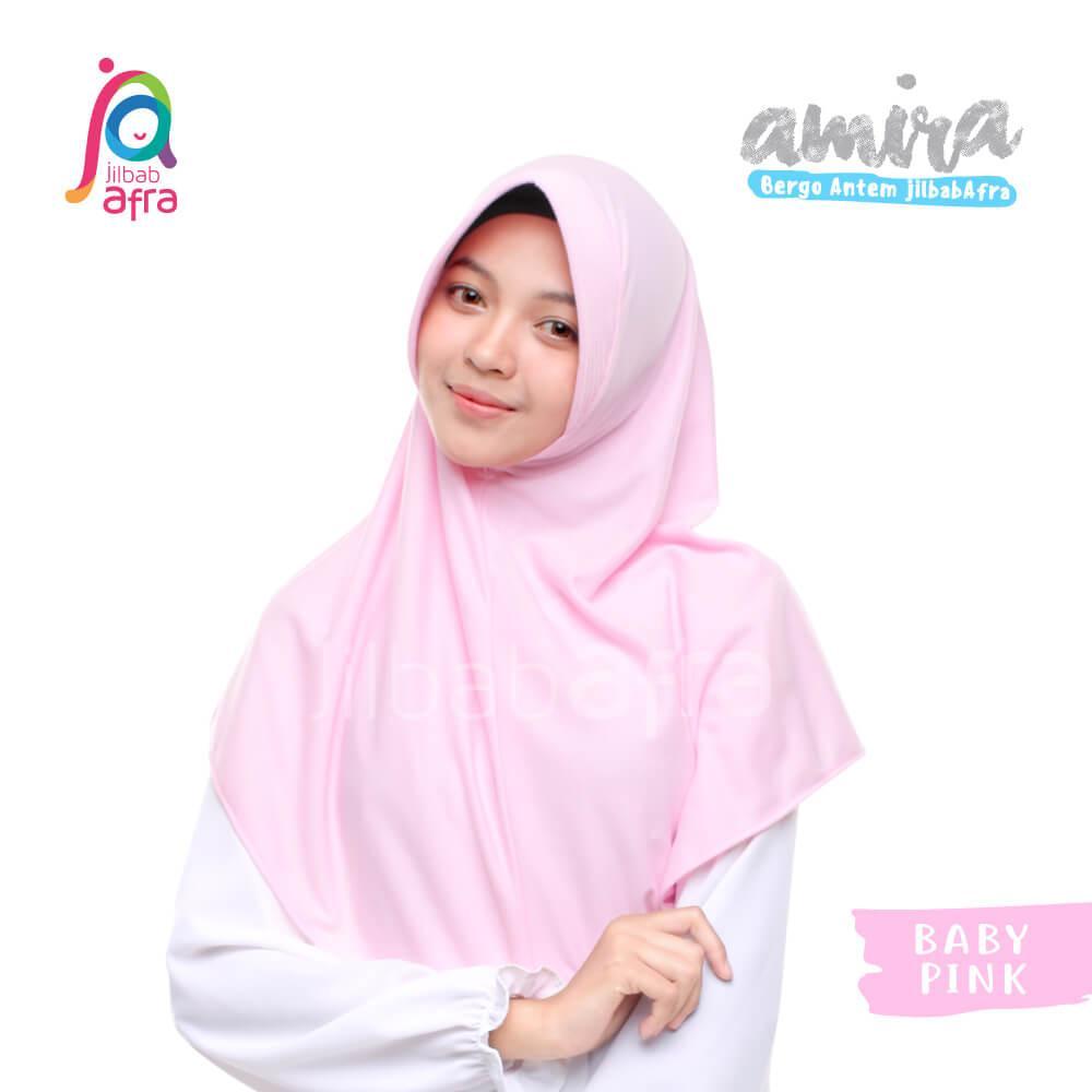 Jilbab Amira 09 Baby Pink - Bergo Pet Antem - Jilbab Afra - Hijab Instan Bahan Kaos, Adem & Lembut