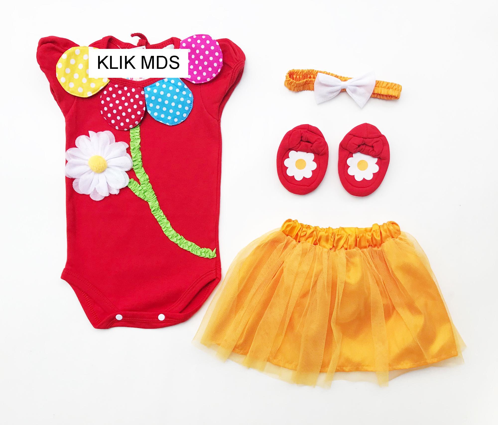 Klik Mds Baju Anak Bayi Newborn Perempuan Jumper Dengan Rok Tutu Bunga Aurelia Free Headband dan Se
