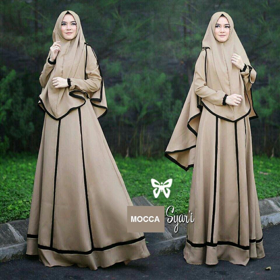 Flavia Store Gamis Syari Set 2 in 1 Lis FS0560 - COKLAT MOCCA / Baju Muslim Wanita Syar'i / Gaun Muslimah / Maxi Dress Lengan Panjang / Hijab / Srjanetta
