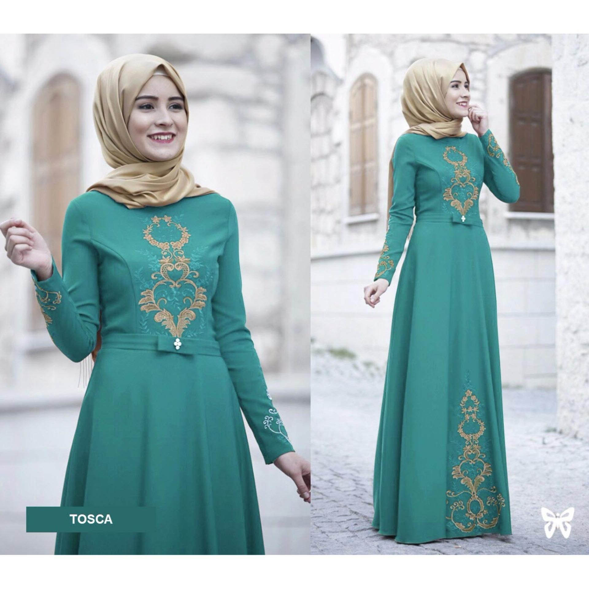 Maxi Dress Lengan Panjang Motif Bordir MSR070 / Gamis Syari / Gaun Pesta Muslimah / Baju Muslim Wanita Syar'i / Hijab / Srravena