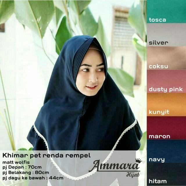 ammara hijab JILBAB KHIMAR RENDA  REMPEL PET ANTEM RUFFEL REMPEL  INSTAN  SYARI BERGO SYAR'I (putih)