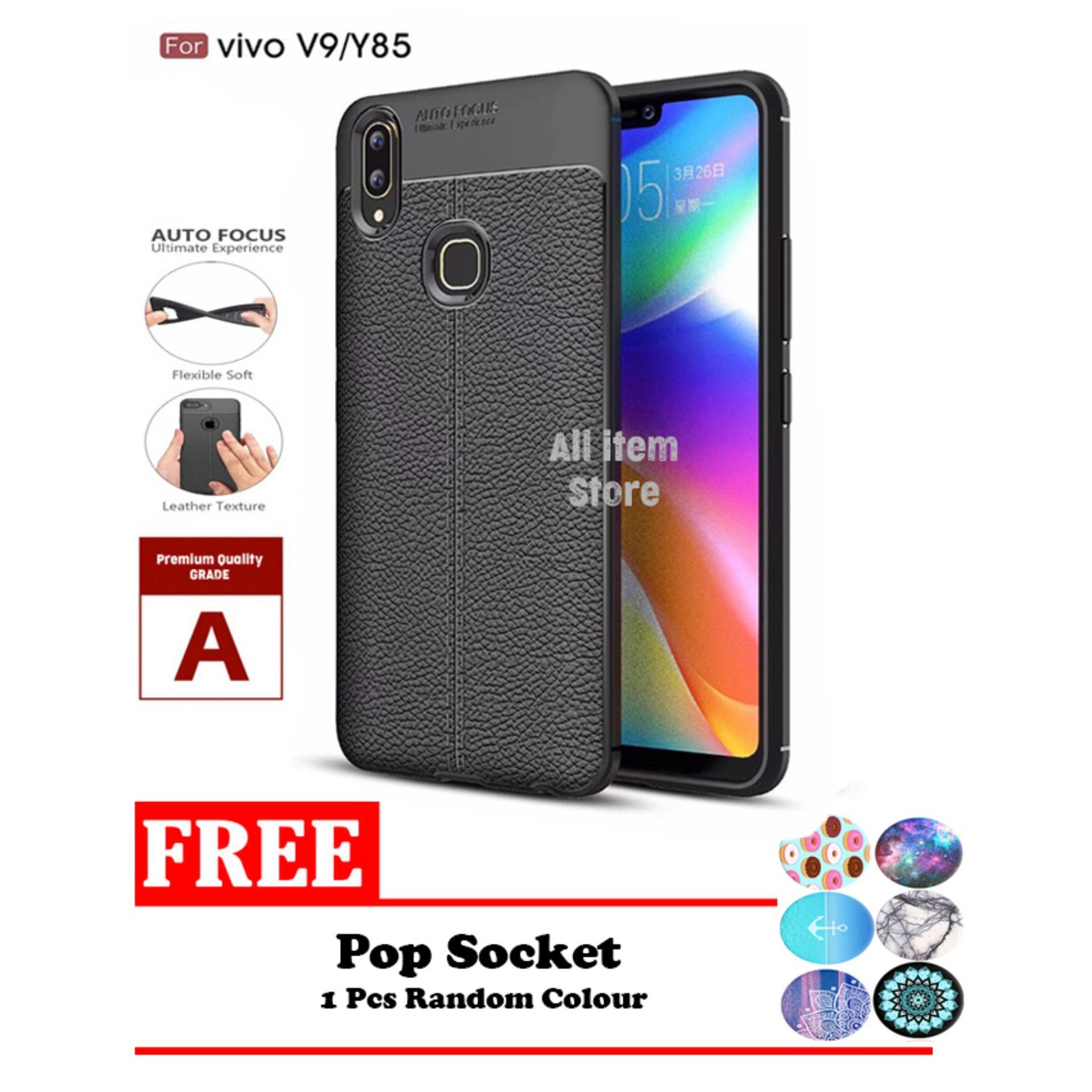 Case Auto Focus Vivo V9 / Y85 Leather Black Matte Autofocus - Hitam + Free PopSocket