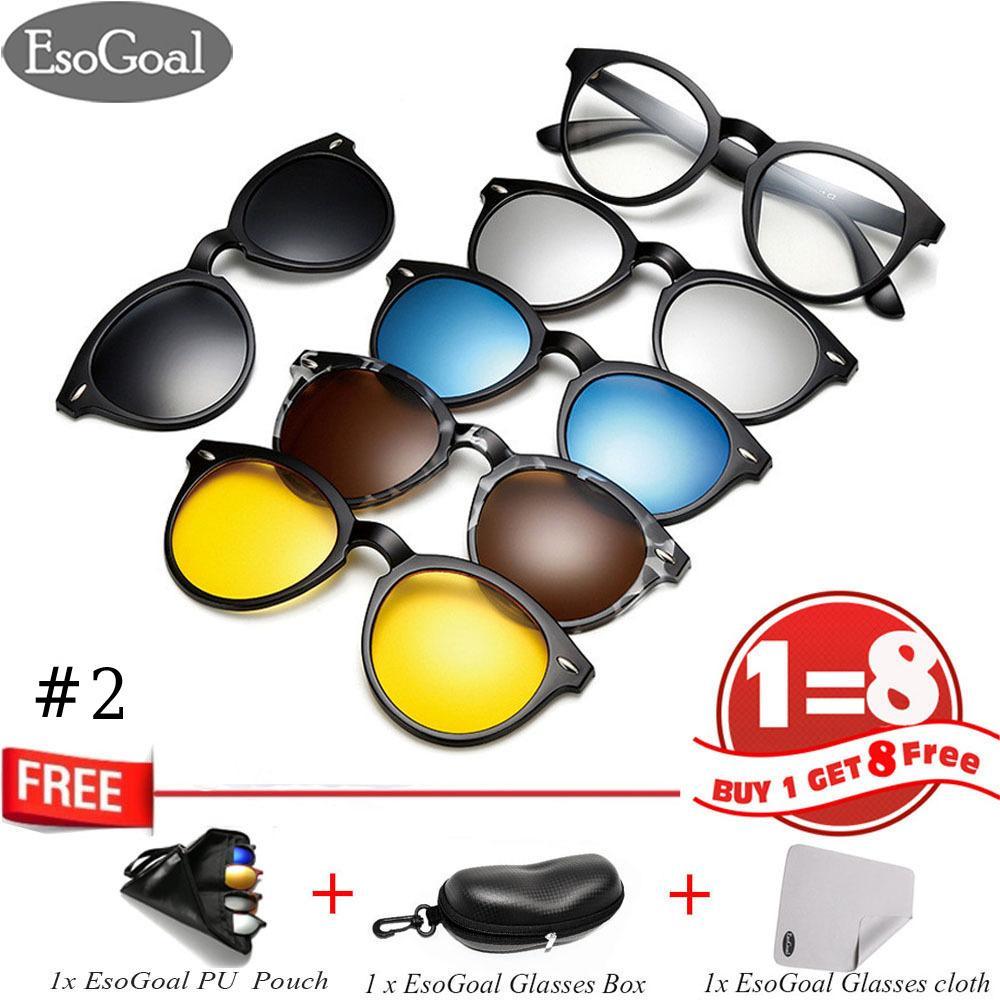EsoGoal Kacamata Hitam Klip Magnetik dengan Lensa Polarisasi Bisa Diganti 5 Lensa