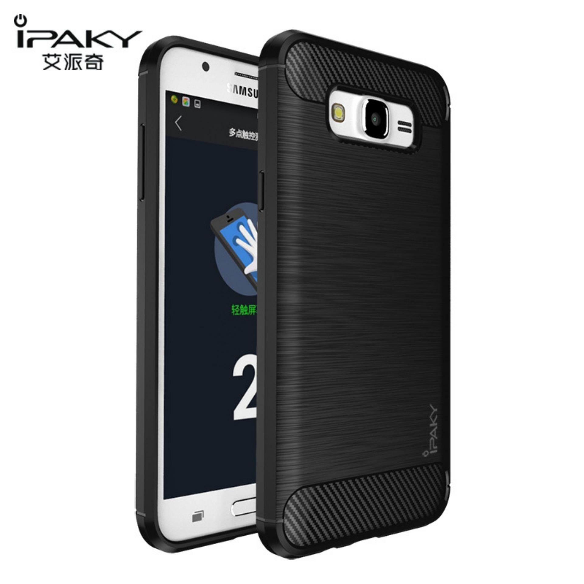 Original Lazada Case Ipaky Shockproof Carbon Hybrid For Samsung Galaxy J3 2016 / J320 - Hitam