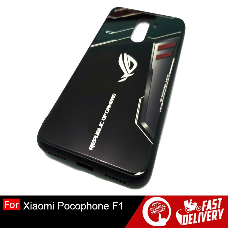 Xiaomi Pocophone F1 Luxury Hard Glass Case Glow In The Dark ROG Design
