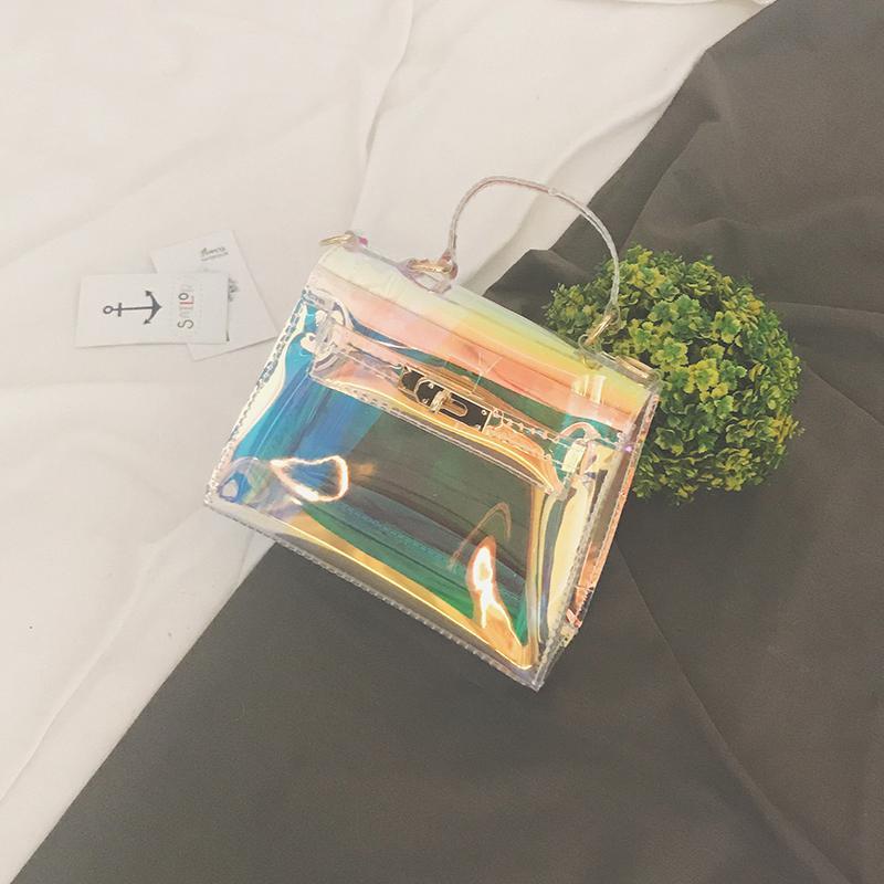 Eropa Dan Amerika Serikat Musim Panas Transparan Jelly Tas Kecil Tas Model Hermes (Berwarna-warni)