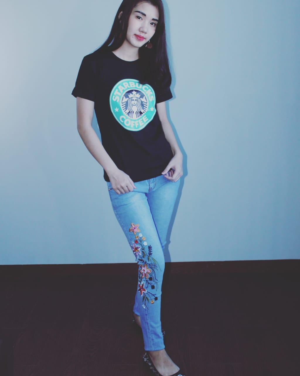 LOLILE celana jeans bordir bunga 303 ( size besar 31-34 )