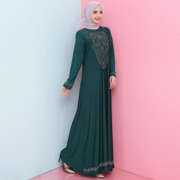 Baju Gamis Wanita Terbaru Gamis Jersey Premium Variasi MOTEK 6877 - Navy L-XL./baju games wanita model baru ./kainya halus nyaman dipakai. /dan harganya murah ./ barang berkualitas