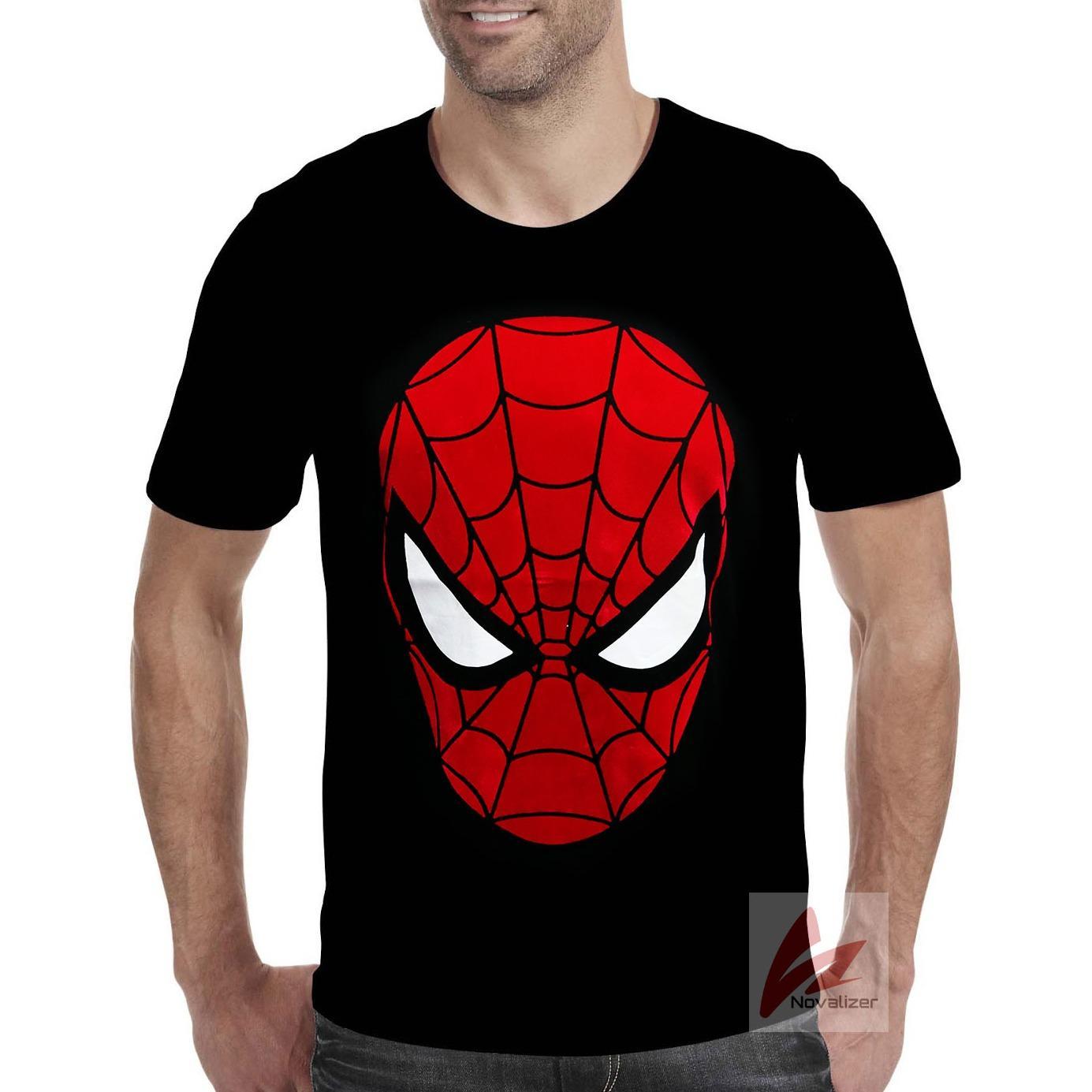 Novalizer - Kaos Distro Spiderman Keren Fashion Pria Wanita Flocking Bludru Timbul Spandek - Hitam
