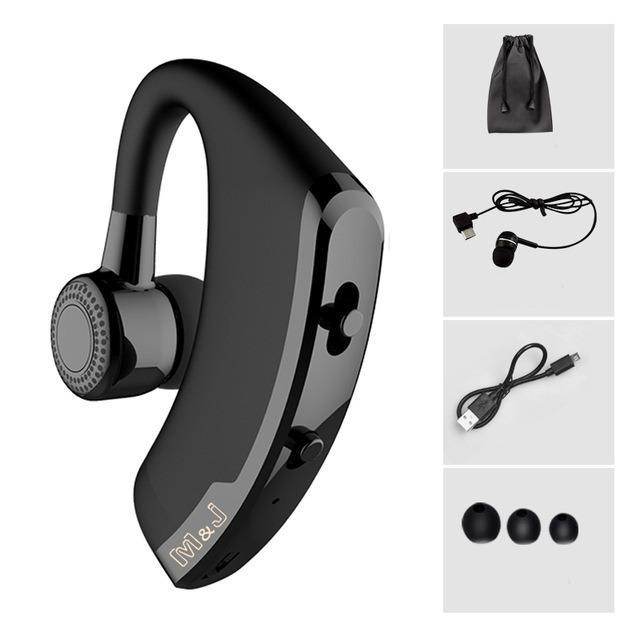 V9 Handsfree Bisnis Bluetooth Headphone dengan MIC Kontrol Suara Nirkabel Bluetooth Headset untuk Drive Noise Cancelling-Hitam-Intl
