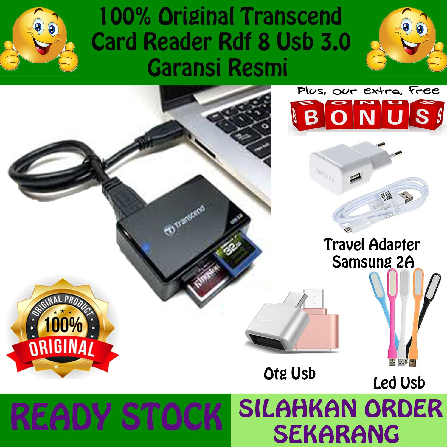 Buy Sell Cheapest Transcend Card Reader Best Quality Product Deals Rdf8 Usb 30 Black 100 Original Rdf 8 Gratis 3 Item Langsung Travel