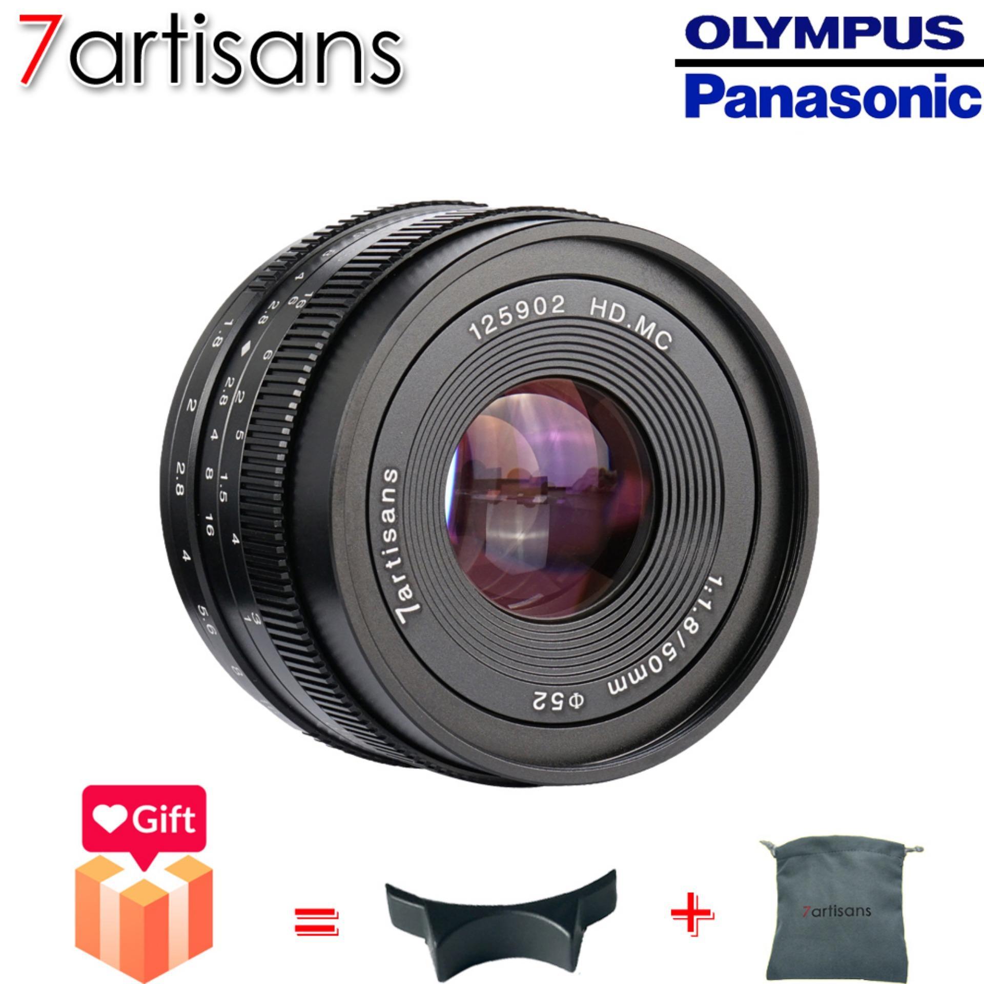 7artisans 50mm F1.8 Manual Lensa Tetap untuk M4/3 Gunung Kamera Panasonic G1 G2 G3 G4 G5 g6 G7 GF1 GF2 GF3 GF5 GF6 GM1 Olympus EMP1 EPM2 E-PL1 E-PL2 E-PL3 E-PL5 (Hitam)