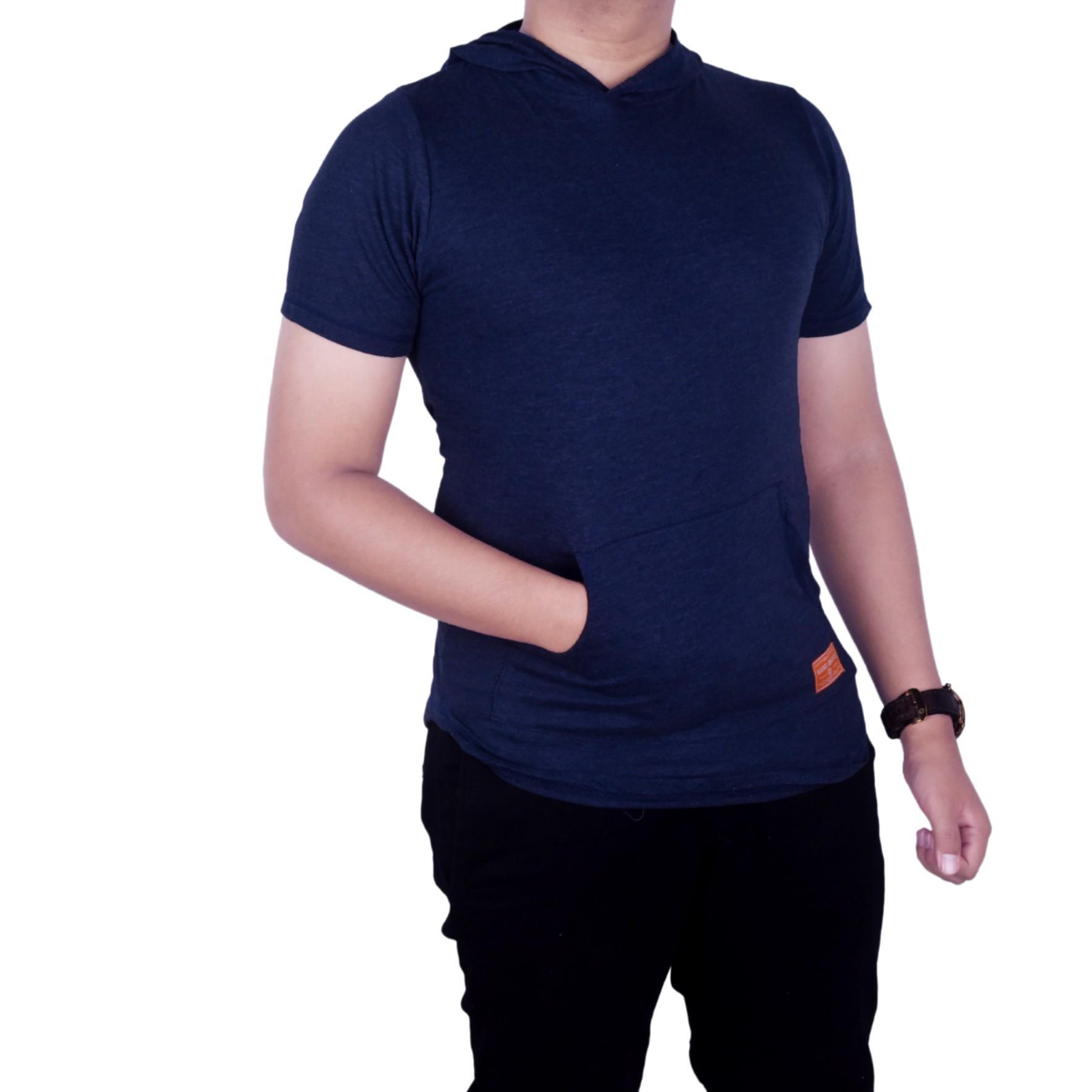 Bsg_Fashion1 Baju Kaos Distro Polos Navy Lengan Pendek Hoodie Unisex/Kaos oblong/Kaos Murah