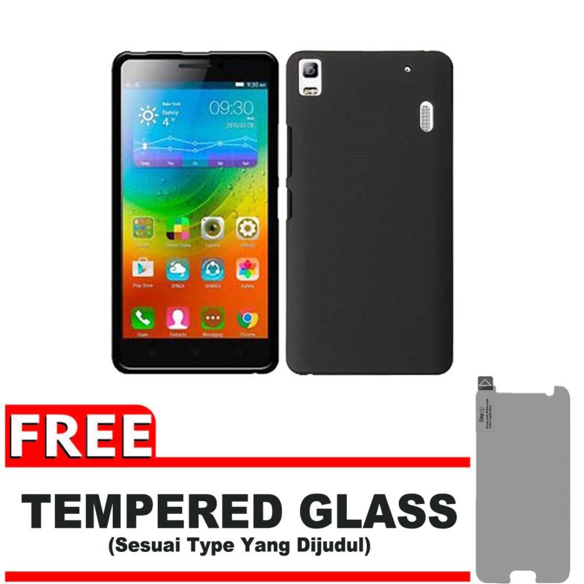 DarkNight for Lenovo A7000 / A7000 + Plus / K3 Note | Slim Case Black Matte Softcase Premium (Anti Minyak/Anti Sidik Jari) + Gratis Free Tempered Glass Protector - Hitam Doff