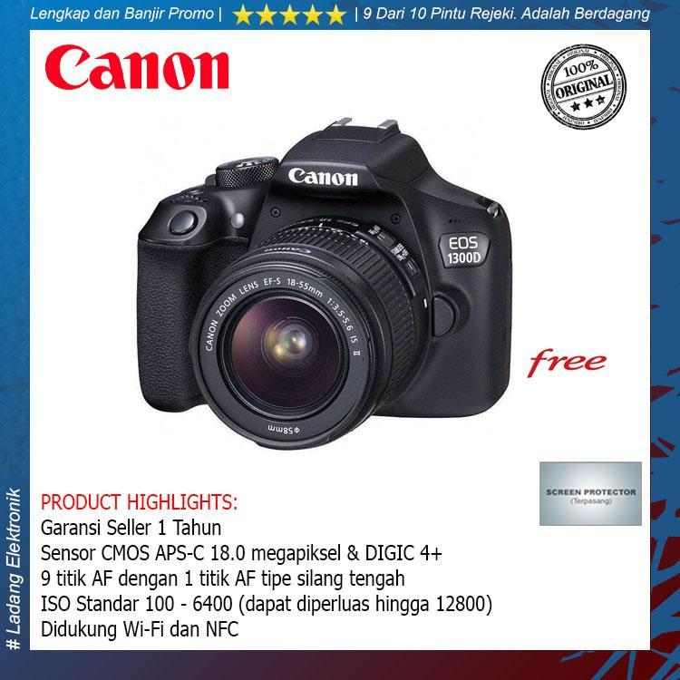 Canon 1300D kit 18-55mm II IS Kamera DSLR (Free Screenguard Terpasang) / Garansi Distributor 1 Tahun